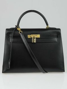 01f9da8bec Hermes 32cm Black Box Leather Gold Plated Kelly Sellier Bag - Sellier is  stitched on the outside