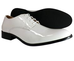 Mens Dress Shoes Majestic Oxford White Formal Wedding party Patent Leather Style #Majestic #Oxfords