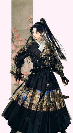 """""""美人画 """" Paintings of beauties in traditional Chinese hanfu, Part 4 (Part by Chinese artist 伊吹鸡腿子. Fantasy Character Design, Character Design Inspiration, Character Art, Samurai Girl, Female Samurai Art, Samurai Artwork, Mode Kimono, Art Asiatique, Art Et Illustration"""