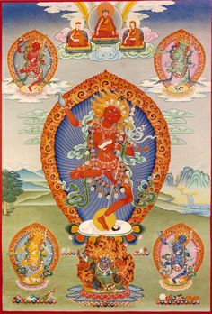 Vajrayogini with retinue. Ekajaṭī or Ekajaṭā, (Sanskrit; Tibetan: ral chig ma. English: One Braid of Hair), also known as Māhacīna-tārā, one of the 21 Taras, is one of the most powerful and fierce goddesses of Indo-Tibetan mythology.