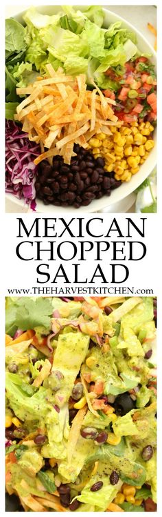 This Vegetarian Mexican Chopped Salad is loaded with flavor and a delicious combo of ingredients. It's great to serve with any Mexican dish, grilled chicken or salmon, yet filling enough to be a meal on its own. Perfect for warm summer nights, backyard barbecues and potlucks. @theharvestkitchen | healthy recipes | | clean eating | | Mexican salads | | chopped salad | | vegetarian salad recipes |