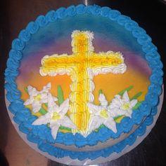 Easter sunrise ice cream cake with cross and lilies Carrot Cake Cupcakes, Easter Cupcakes, Cake Cookies, Cupcake Cakes, Cream Cake, Ice Cream, Buckwheat Cake, Spring Cake, Zucchini Cake