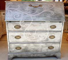 rust-oleum silver metallic bright coat spray paint secretary desk