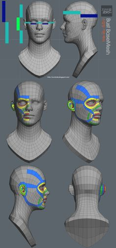 zbro bust base (ztl /obj) - Great reference for face topology 3d Max Tutorial, Zbrush Tutorial, Character Modeling, 3d Character, Character Design, Modeling Techniques, Modeling Tips, Wireframe, Face Topology