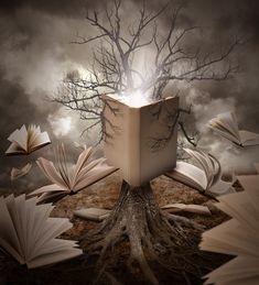 Trademark Art 'Old Tree Reading Story Book' Graphic Art Print on Wrapped Canvas Size: Reading Story Books, Reading Tree, Reading Nook, Book Wrap, Fantasy Posters, Fantasy Artwork, Writing Contests, Fantasy Forest, Book Posters