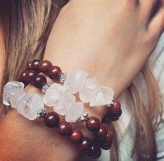 Rosewood and gemstone bracelet/ Rose quartz/ by angelovajewelry