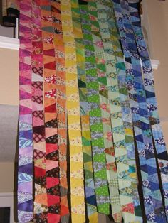 I had more left over flannel scraps then I thought! 1764 blocks to make a quilt blocks or 2016 for a which would be ideal. Tumbling Blocks Quilt, Quilt Blocks, Quilting Projects, Quilting Designs, Tumbler Quilt, Scrap Quilt Patterns, Geometric Quilt, Rainbow Quilt, String Quilts