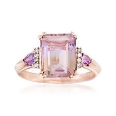 Ross-Simons - 3.20 Carat Ametrine and .20 ct. t.w. Amethyst Ring With Diamond Accents in 14kt Rose Gold Over Sterling - #875721