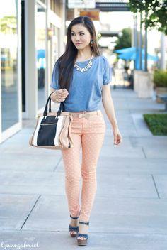 Lynne Gabriel in our Peach Polka Dot Jeans