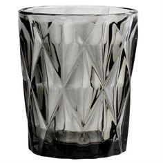 Glas - Vandglas - Diamond - Røgfarvet - H: 10 cm.