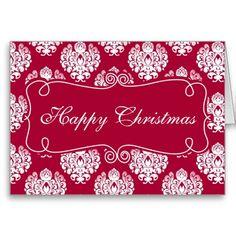 Elegant Pretty Red Damask Happy Christmas Card