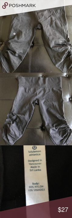 Fabulous pair lululemon  workout capri Ready to workout lululemon active capris in great shape a little wear in between which is shown in the picture but overall great shape lululemon athletica Pants Capris