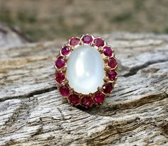 Vintage Antique 7.20ct Moonstone Ruby Unique Engagement Ring Art Deco 14k Yellow Gold by DiamondAddiction on Etsy