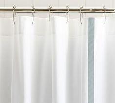 Morgan Shower Curtain In Navy With Monogram Potterybarn Bathroom Kids Renos Childrens