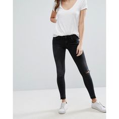 Only Coral Low Rise Ripped Knee Skinny Jeans ($47) ❤ liked on Polyvore featuring jeans, black, mid rise skinny jeans, zipper skinny jeans, super skinny jeans, coral skinny jeans and ripped jeans