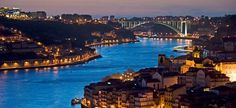 City of Porto and Gaia at night by the Douro river in Portugal, Arrabida Bridge at the far end. Lonely Planet, Douro River Cruise, Travel Around The World, Around The Worlds, Places To Travel, Places To Visit, Porto City, Plane Photography, Portugal Holidays