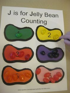 alphabet activities for kids j is for jelly bean color counting ***free printable*** Preschool Projects, Daycare Crafts, Preschool Curriculum, Preschool Lessons, Daycare Ideas, Manners Preschool, Homeschooling, Art Projects, Letter J Activities
