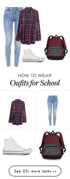 """""""Lazy school day"""" by fashionlover4562 on Polyvore featuring moda, Converse, G-Star, Madewell y Victoria's Secret"""