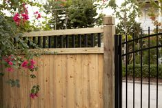 Wood privacy fences are our specialty! All of our wood fences are custom stick built (meaning no pre-built panels). Wood Privacy Fence, Wood Fence Design, Aluminium Gates, Western Red Cedar, Mossy Oak, Backyard, Outdoor Structures, Yard