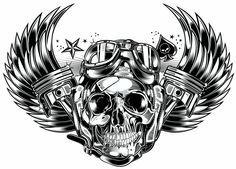 Skull & Pistons - Harley Davidson - US by DAVID VICENTE
