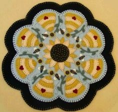 Bees Hives Sunflowers Penny Rug Candle Mat Pattern | eBay