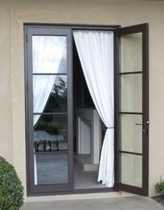 super ideas for sliding glass door curtains bedroom Black French Doors, Blinds For French Doors, French Doors Bedroom, French Windows, Bedroom Doors, Windows And Doors, Narrow French Doors, French Door Curtains, Black Door