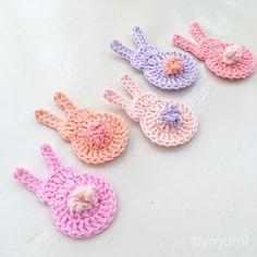 Easy Easter Bunnies | Bymami Crochet Bunny Pattern, Crochet Trim, Crochet Hooks, Free Crochet, Knit Crochet, Crochet Patterns, Easter Bunny Ears, Tiny Bunny, Easter Crochet