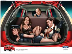 Ford India though Paris Hilton driving with the Kardashian Sister Bound & Ball Gagged would Spur Ford Figo Sales Paris Hilton, India France, France 24, Subaru, Marketing Viral, Online Marketing, Volkswagen, Provocateur, Creative Advertising