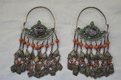 Uzbekhistan  | Kharazım coral, turquoise and silver earrings | © Ali Akça