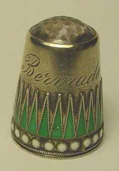 "Sterling Silver Thimble w Purple Stone Top and Engraved ""Bermuda"" 