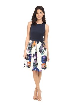 Floral Spring Dresses For Every Budget: Mixed Fabric Dress.