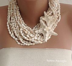 beach weddings, necklace with  sea shell and star fish,chunky necklace,  bold Wedding necklace
