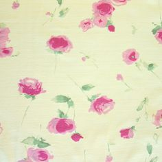 """$10/yd. 52""""wide, Pink Roses on Yellow Cotton Interlock Fabric with medium weight, super soft hand, great for apparel T-shirts, PJ's, dresses, 35% stretch, 100% cotton interlock medium weight. Pink roses printed on quality yellow cotton interlock knit fabric.  Also have blue roses on white background"""