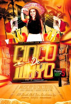 Cinco de Mayo Flyer Template - http://ffflyer.com/cinco-de-mayo-flyer-template-2/ Cinco de Mayo Flyer Template - Super easy to edit, all well organized in folders with names, you can easily change Texts, Colors, Add/Remove objects to this layered PSD.   #CincoDeMayo, #Club, #Dance, #Dj, #Event, #Latin, #Music, #Night, #Nightclub, #Party