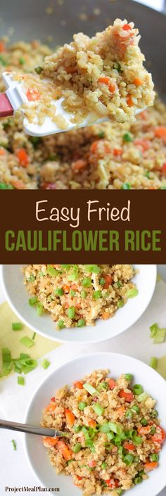 """Fried Cauliflower Rice Recipe - Super healthy takeout style fried """"rice"""", made…"""
