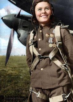 Maria Dolina (1922–2010) was a Russian pilot and acting squadron commander of the 125th Marina M. Raskova Borisov Guards dive bomber regiment, seen here in front of a Petlyakov Pе-2 light bomber (1944, colorized).