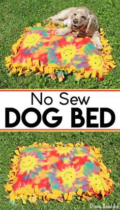 No-Sew Fleece Dog Bed Pillow Tutorial - Create an inexpensive dog bed with a fleece blanket and a pillow. This does not require any sewing. Makes a great gift for the dog lover. #ad