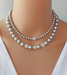 Items similar to Wedding Necklace – Bridal Necklace, Pearl Necklace, Mother of t… – Jewelry And Accessories Emerald Necklace, Diamond Solitaire Necklace, Emerald Jewelry, Diamond Pendant, Pearl Jewelry, Beaded Jewelry, Beaded Necklace, Pearl Rings, Pearl Bracelets
