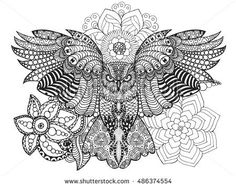 Owl in flowers. Black white hand drawn doodle. Ethnic patterned vector illustration. African, indian, totem, tribal, design. Sketch for adult antistress coloring page, tattoo, poster, print, t-shirt