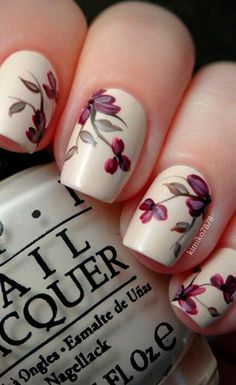 Latest 45 Easy Nail Art Designs for Short Nails 2016 Great ready to book your next manicure, because Pretty Nail Designs, Simple Nail Art Designs, Easy Nail Art, Floral Designs, Fancy Nails, Pretty Nails, Gel Nails, Nail Polish, Nude Nails