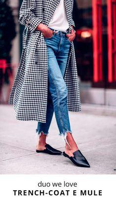 Te ensinamos maneiras incríveis de usar o duo fashion trench coat e mule.