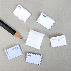 Free printable doll size paravion envelopes