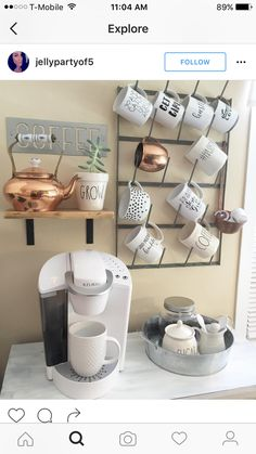 Can we take a minute to appreciate the downright prettiness of farmhouse decor? I had a total ball putting this list together, to say the … apartment decorating 25 Farmhouse Chic Decor Ideas You'll LOVE For Your Farmhouse Plans Coffee Bar Home, Home Coffee Stations, Coffee Shop, Coffee Bars, Office Coffee Station, Coffee Station Kitchen, Coffee Bar Ideas, Coffee Corner Kitchen, Coffee House Decor