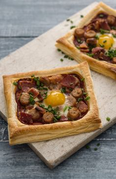 These quick and easy tartlets will curb any weekend cravings for a full fry up, as they're already topped with all the essentials: bacon, sausage and a baked quails egg. Ren's puff pastry tartlets will be sure to impress.