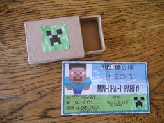 Minecraft party invites. Craft store for mini boxes. Download creepers, print, cut and glue onto Box. Job done.