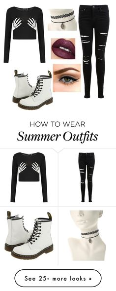 """School Outfit"" by gabby-starks on Polyvore featuring Miss Selfridge, Dr. Martens and Sephora Collection"
