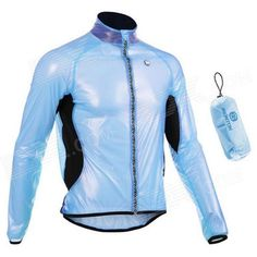 Monton 1019 Ultrathin Cycling Polyester Fiber Jacket - Sky Blue   Black (M) Price: $25.82