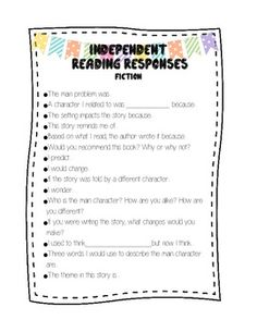 reading response prompts for journal or homework