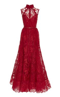 Sleeveless Lace And Silk Georgette Gown by Elie Saab