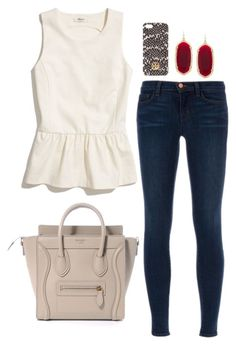 """cream and red."" by the-southern-prep ❤ liked on Polyvore featuring Madewell, Kendra Scott, Tory Burch and J Brand"